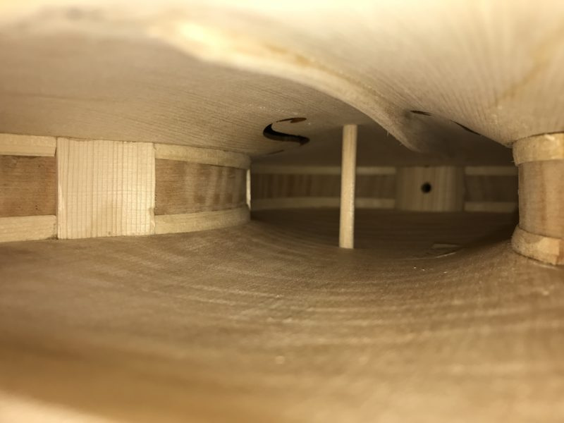 The inside of a violin